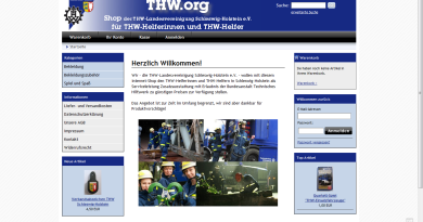 Screenshot von thw.org - dem Shop für THW-Helferinnen und THW-Helfer