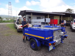 Die ultramarinblaue Feldküche in Samoa
